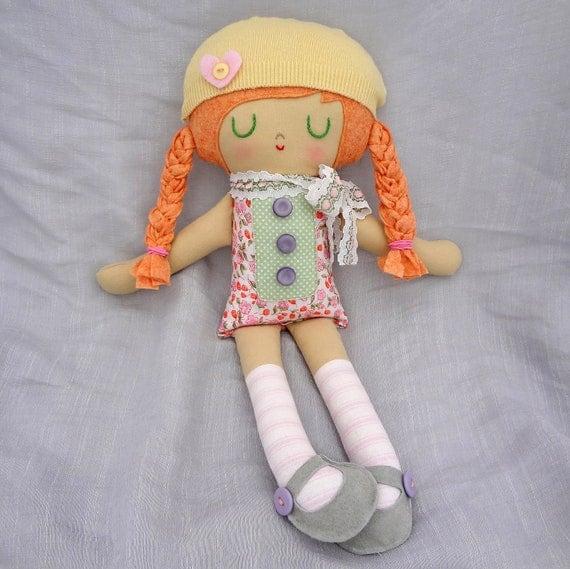 Duffy rag doll   cloth doll  strawberry blonde hair  eco friendly doll  one of a kind