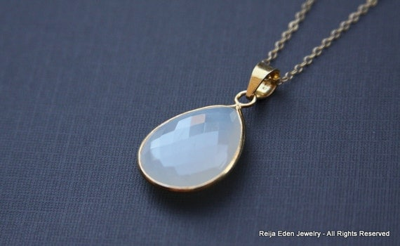 Moonstone Necklace, Gold, Gemstone, Simple Every Day Jewelry, Trendy