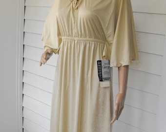 70s Lace Dress Ivory Qiana Knit New Old Stock Vintage Toni Todd 1970s S