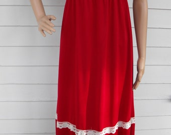 Red Lace Hippie Maxi Dress 70s Tiered Vintage 1970s Long S M