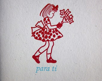 PARA TI, Girl with flowers - Letterpress
