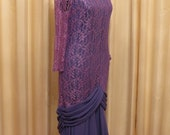 Vintage Purple 80s Does 20s Flapper Style Lace Prom Formal Dress