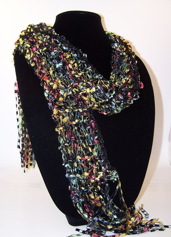 Knitting Pattern Ribbon Yarn Scarf : Knit Scarf Ladder Ribbon Yarn Scarf in Black by WeeCatCreations