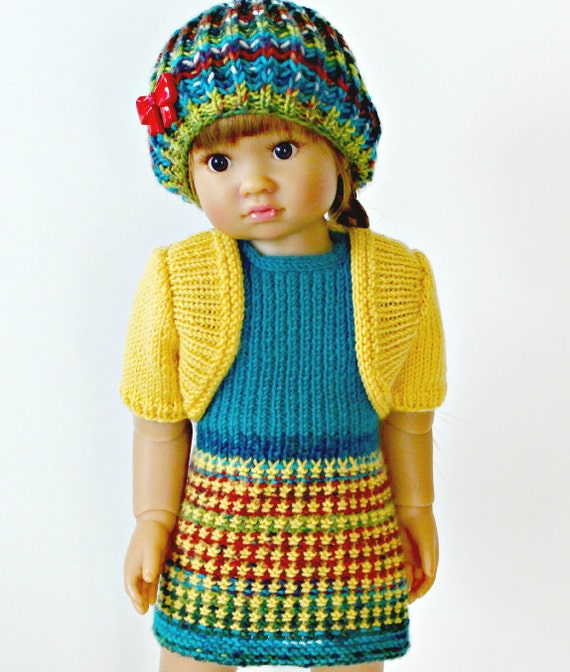 Knitting Pattern 13 Inch Doll : My First Dress knitting pattern for 18 inch Kidz n by LelleModa