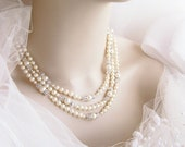 "Pearl Wedding Necklace, 3 Strand Crystal and Pearl Bridal Necklace - ""Kelly"""
