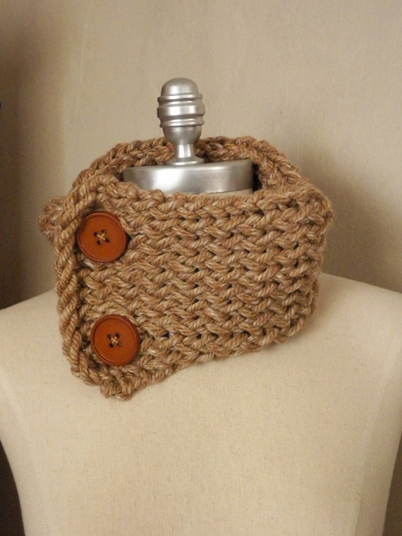 ON SALE Caramel Button Cowl Scarf Neckwarmer, Chunky Knit, Brown Taupe with Huge Buttons, Ready to Ship