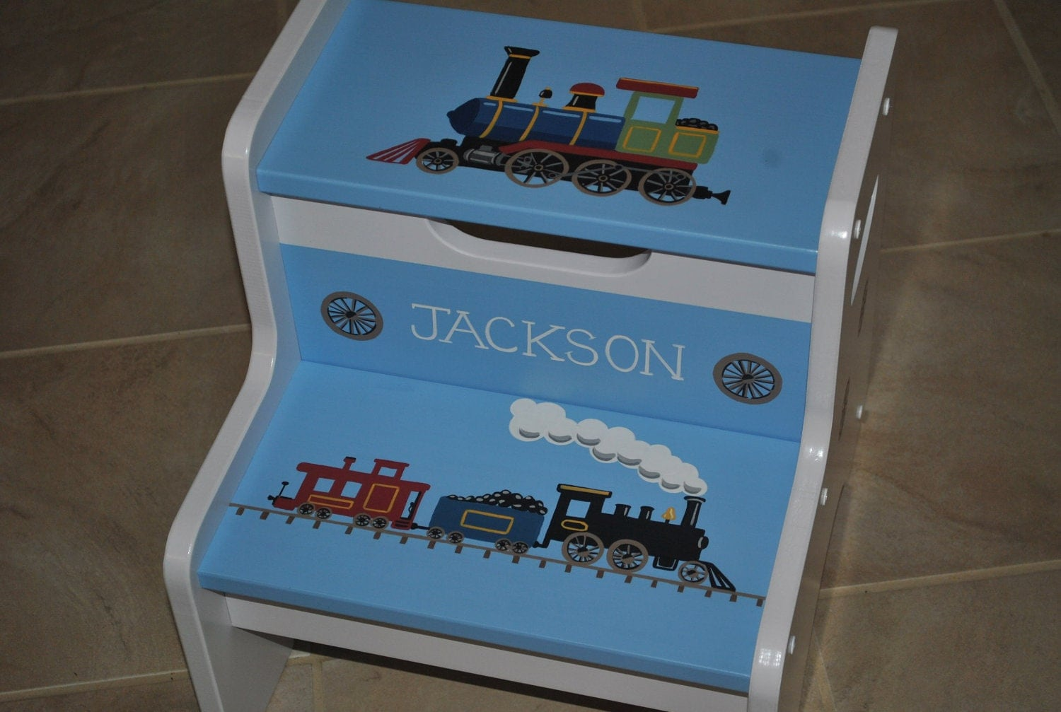 Kids Personalized 2 Step Stool Trains By Onmyown14 On Etsy