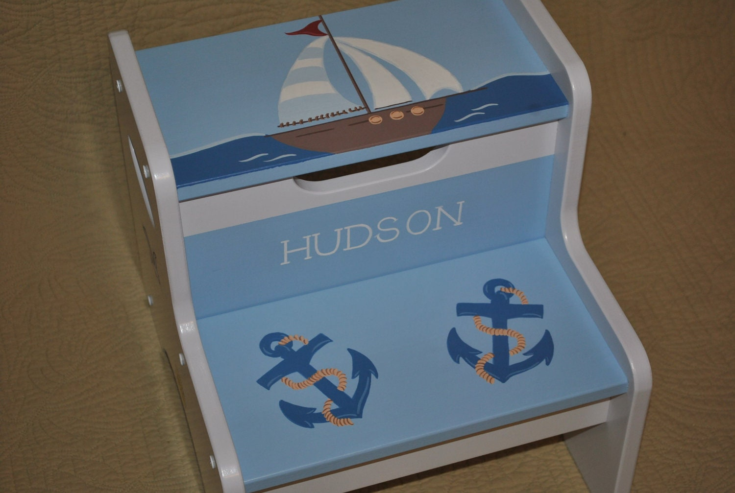 Kids Personalized 2 Step Stool Out To Sea