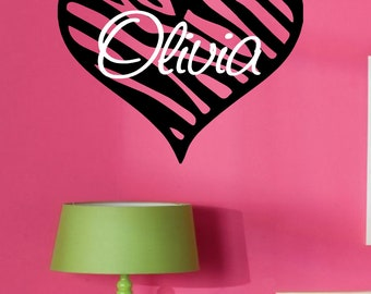 Zebra Print Heart with Name vinyl Wall Decal Teen/Tween