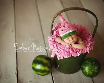 Knitted Infant Hat, Newborn Baby Watermelon Hat, Knit Photo Prop,Preppy Pink Green, Toddler, Children, Adult Sizes Avail