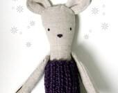 linen mouse doll  //  purple knit dress