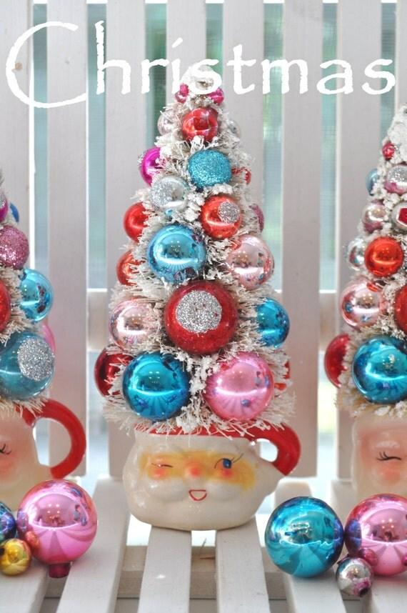 Christmas Santa Bottle Brush Tree Kitsch Vintage glass ornaments garland bottlebrush KiTschy Japan Holtz Howard
