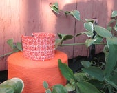 Tropical Tangerine Orange Sorbet Ice & Ivory Cuff Bracelet, Bohemian Folk Tribal Fiber Art Fashion, Artisan Hand Woven with Glass Beading
