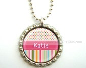 Kids Stocking Stuffer - Personalized necklace, bottle cap necklace - bubble gum dots stripes with custom name