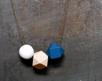 Sea Blue, Natural and Antique white Geometric Wood Necklace - Boho Necklace - Everyday