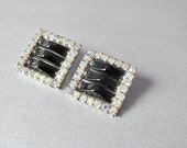 Vintage Rhinestone & Glass Earrings Square Clip ons
