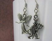 Silver Angel & Devil Earrings - Angel Earrings, Devil Earrings, Good vs Evil, Halloween Earrings, Mismatched Earring