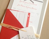 Rustic Modern Wedding Invitation in Red -  Announcement and RSVP Card
