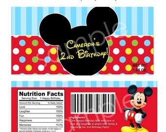 PRINTABLE Modern Mickey Mouse Candy Bar Wrappers 1.55 oz DIY