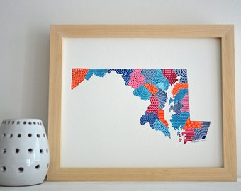 Maryland Map Illustration