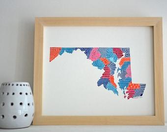 Maryland Map Illustration