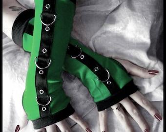 Gremlin Gothic Unisex Bondage Arm Warmers - Bright Kelly Green Black w/ Silver Metal D Rings - Grommets - Vampire Fetish Dark Rave Emerald