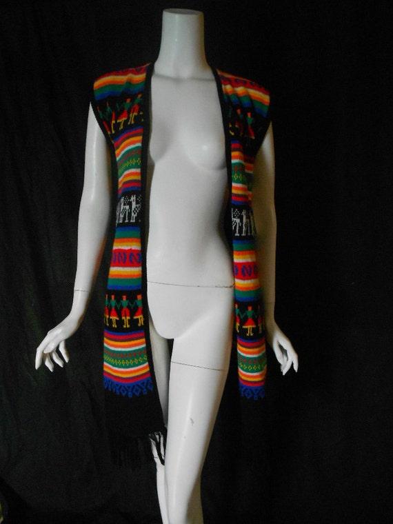 Vintage Long Sweater Vest Guatamalan Aztec Look Fringe 1970s 1980s