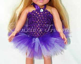 """2-Piece Purple Paradise Tutu Outfit for 18"""" and 15"""" Dolls - Fits American Girl Dolls and My Generation Dolls"""