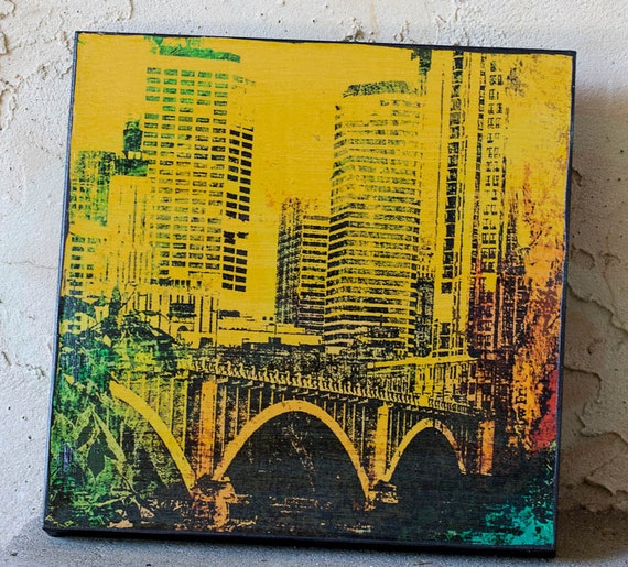 Photo on wood panel, Minneapolis Bridge and Mississippi River,fine art, abstract digital photo on wood, wall art, office art,