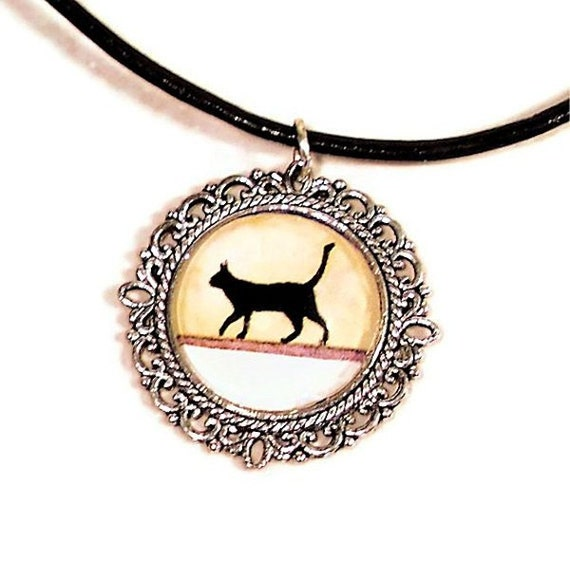 Black Cat Silhouette Silver Pendant Tray with Leather Cord - Free Shipping in Canada