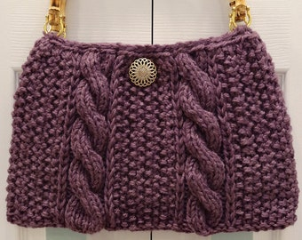 KNITTED,  Dusty Purple Handbag/purse , hand knitted,in a cable, seed stitch pattern,with beige bamboo handles.