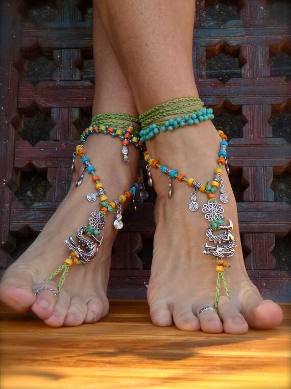 Fierce Dragon Barefoot Sandals Green Anklets Crochet Gypsy