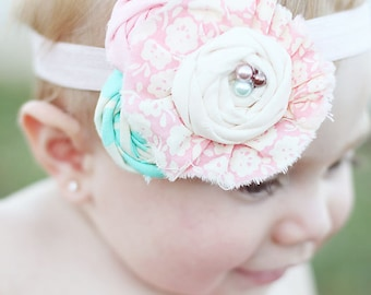 Pastel Parlor- ruffle and rosette headband