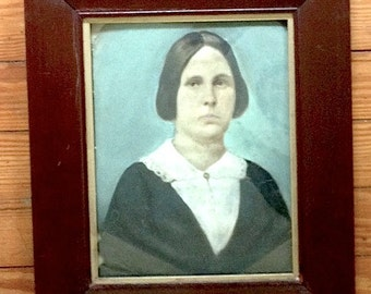 Antique Tintype, Painted Tintype, Victorian Tintype, Victorian Painted Tintype, American Folk Art, 1800s Tintype, Full Plate Tintype Portrai