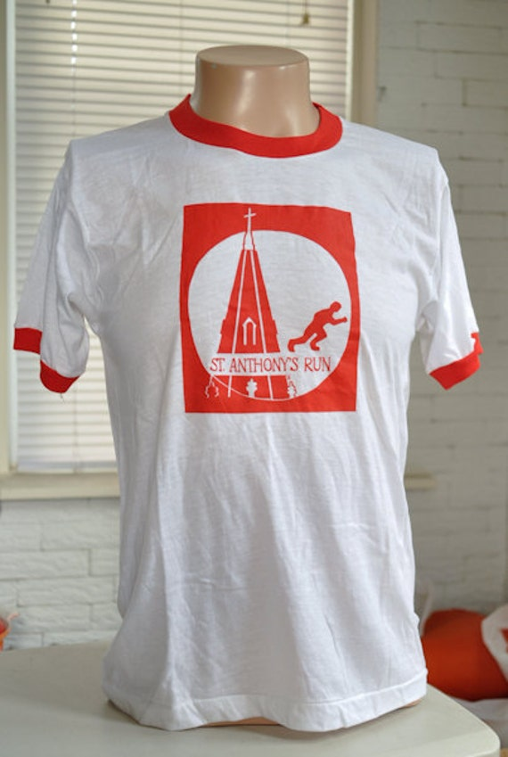 vintage (t shirt) ST. ANTHoNY'S RUN Ringer 80s Screen Stars Medium (39 inches around chest)