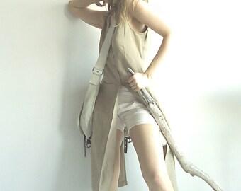 MoDeRn AmAZoN Linen Unique Designer Waistcoat Vest with Long Front and Short Back in Natural Beige S/M/L