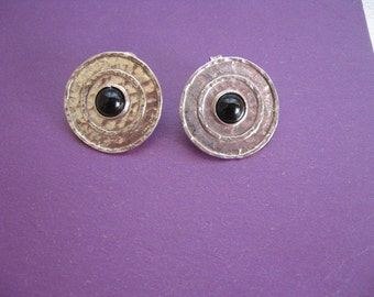 Sterling Silver Button Earrings, Silver Circle Earrings, Garnet Earrings, Simple Everyday Earrings