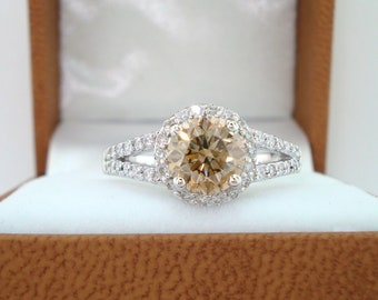 Platinum 1.50 Carat Fancy Champagne Brown Diamond Engagement Ring Certified Halo Handmade