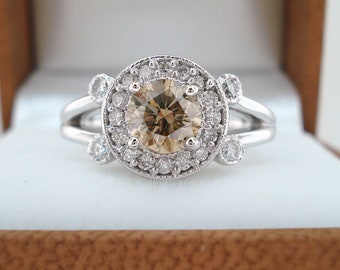 Natural Champagne Brown Diamond Engagement Ring, Wedding Ring 0.91 Carat 14k White Gold Halo Pave Certified Unique handmade