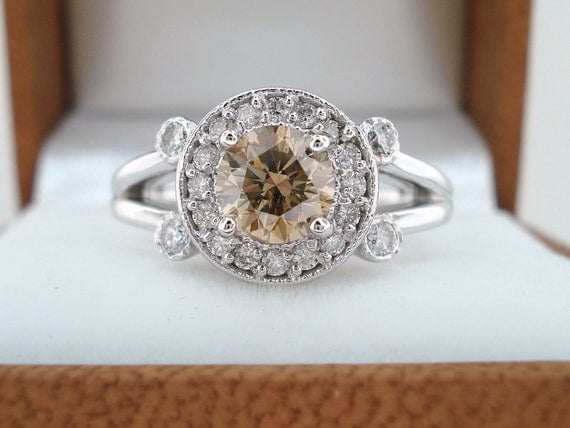 Natural Champagne Brown Diamond Engagement Ring 0.91 Carat 14k White Gold Halo Pave Certified Unique handmade