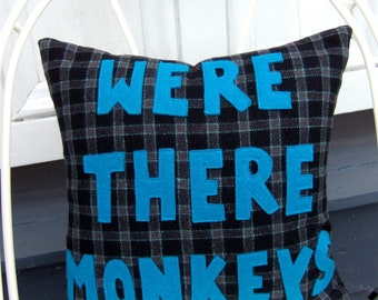 """Were There Monkeys 13"""" recycled wool Firefly decorator pillow - FREE US SHIPPING"""