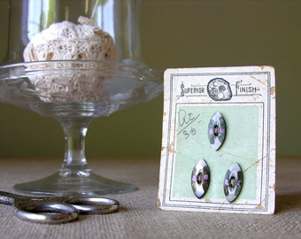 Antique Button Card Handpainted Mother of Pearl Buttons