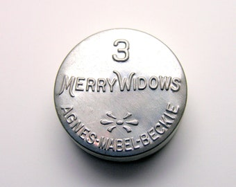 Vintage Condom Tin 3 Merry Widows Antique Aluminum Embossed Prophylactic Container