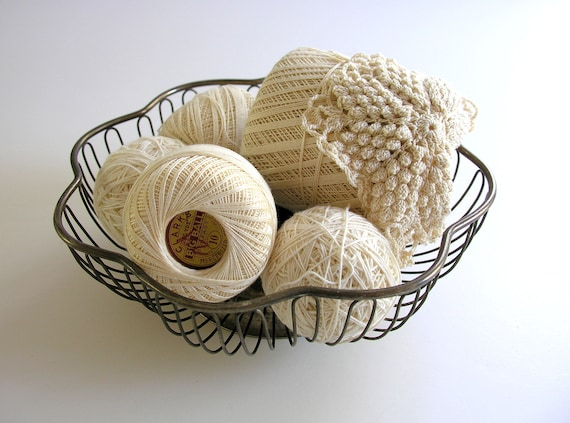 Vintage Silver Wire Basket Crochet Thread Creamy White Twine Balls Rustic Tarnished Silverplate Supplies Patina Instant Collection