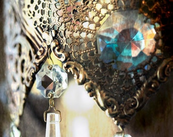 Bohemian Chandelier : crystal chandelier photo photography antique brass champagne sparkle shimmer decor 8x12 12x18 16x24 20x30 24x36