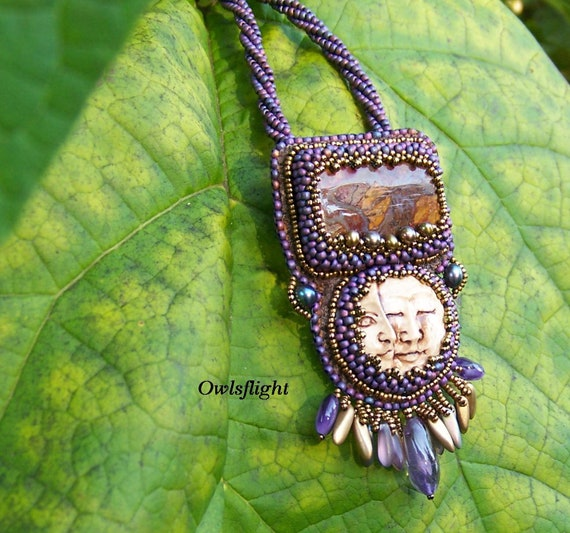 Purple Sun and Moon Polymer Clay Beadwork Necklace With Rooster Tail Jasper