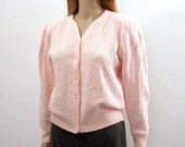 1980s Vintage Cardigan Sweater Pale Pink Beaded Angora Blend Sweater / Small