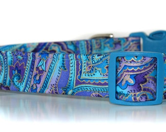 Island Blue,,,Paisley Dog Collar