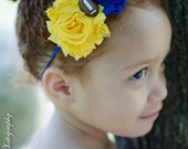 University of Michigan Shabby Chic Blue & Yellow Double Flower Baby Headband -  Newborn - Infant - Toddler - Girl - Adult - Photo Prop
