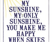 You are my Sunshine Art print. Chic and Modern Nursery Print. Blue and Yellow. Nursery Decor. Wall Art. 8.5 x 11""